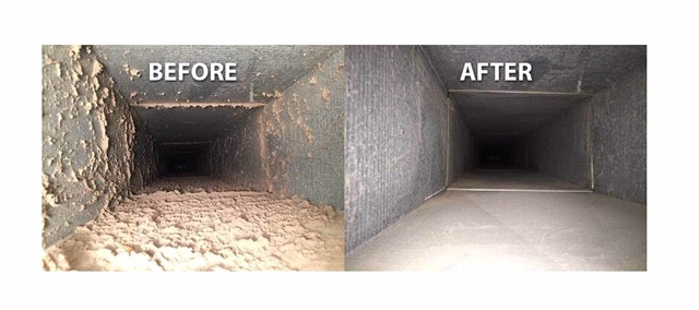 before and after cleaning an air duct